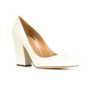 Sergio Rossi Block Heel Pump In Jasmine White